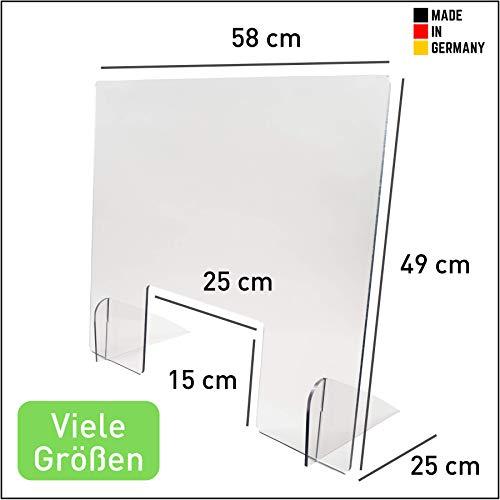 Spuckschutz Thekenaufsatz (49 cm hoch) - Praxis und Apotheke - Hustenschutz mit Durchreiche -Kunststoffglas - Schwer entflammbar (B1 - DIN 4102) - Lebensmittelecht - (49x58 cm)