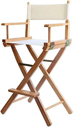 YZjk Schaukelstuhl Massivholz Klappstuhl, Moderner Regiestuhl Esszimmerstuhl aus Segeltuch mit Holzarmlehnen Einfacher hoher Barhocker, Sitzhöhe 44,5/78,5 cm (Farbe: Schwarz, Größe: 78,5 cm)