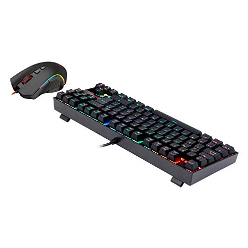 Pack Redragon K552RGB-BA, Combo teclado mecánico KUMARA TKL y ratón para juegos GRIFFIN RGB, interruptores Outemu Blue, distribución España, anti salpicaduras, sensor Pixart 7200DPI