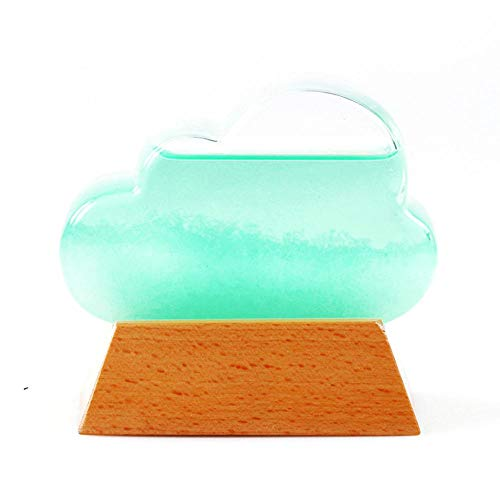 mooderff weerglas met houten sokkel, creatief weerstation predictor fles barometer tafel ornament voor verjaardag huwelijkscadeau