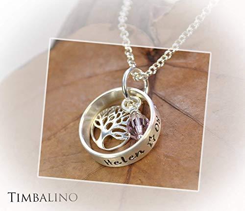 Namenskette, 925 Silber, Lebensbaum, Geburtsstein Taufbaum Taufring