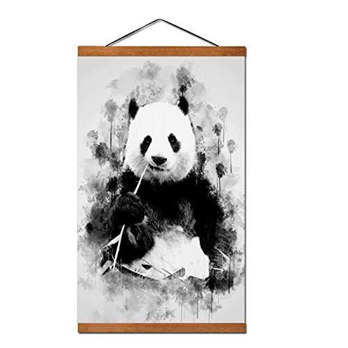 Wandkunst-Drucke-niedlicher Panda, der Bambus-Kunst-Plakat-Druck-Wandkunst für Wohnzimmer-Wohnkultur-50x70 cm mit Rahmen isst