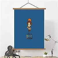 寝室の装飾油絵ポスタースクロール装飾絵画、ワンピース吊り絵画ルフィ、ナミポスタースクロール絵画油絵コミック展ぶら下がっている絵画 L-30*40cm/12*18in