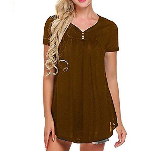 Amandaz Damen V-Ausschnitt T-Shirt Knopfleiste Bluse Solide Falten Tops Tunika Kurzarm Basic Bedecke deinen Bauch locker Tops