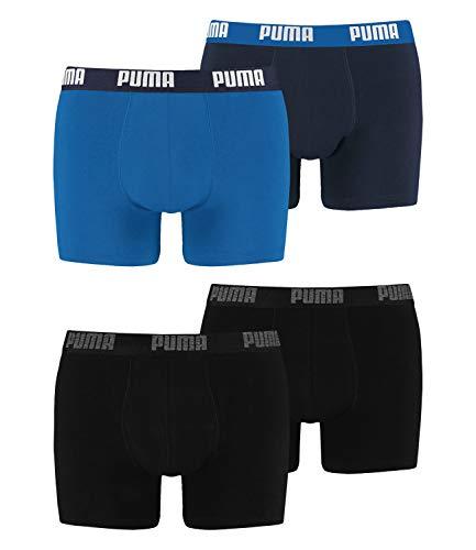 PUMA Herren Boxershorts Unterhosen 100004386 4er Pack, Wäschegröße:L, Artikel:-230 Black/Black + 420 True Blue