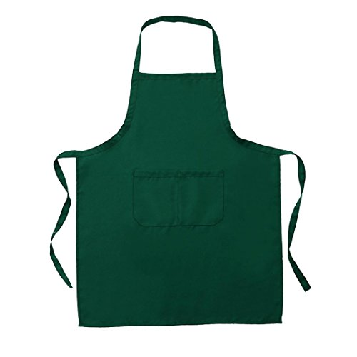 Zarupeng Einfarbig Unisex Kochschürze Catering Arbeit Schürze Tabard mit Twin Double Pocket (One Size, Grün)
