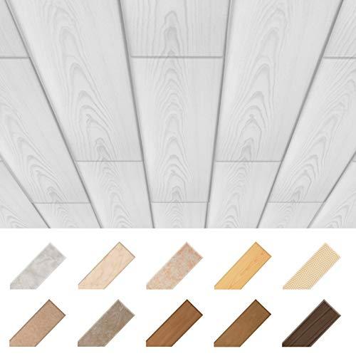 HEXIM Deckenpaneele aus XPS 100x16,7cm - Moderne Deckenverkleidung aus Styropor Kunststoff (10 Quadratmeter P-56) Wand Decke Platte