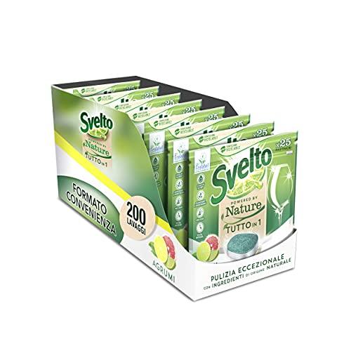 Svelto Pastillas para lavavajillas Powered by Nature todo en 1 cítricos Megapack de 200 lavados con certificación ecológica