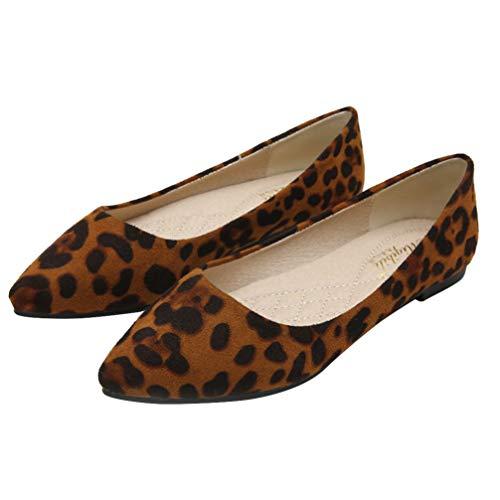 Holibanna Zapatos Planos de Ballet con Estampado de Leopardo para Mujer Zapatos...