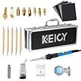 Wood Burning Kit,Professional Wood Burner Pen Temperature Adjustable Woodburning Pen Creative DIY Pyrography Pen Iron Soldering Tool with Carrying Box for Wood Leather Stamping, Burning & Embossing