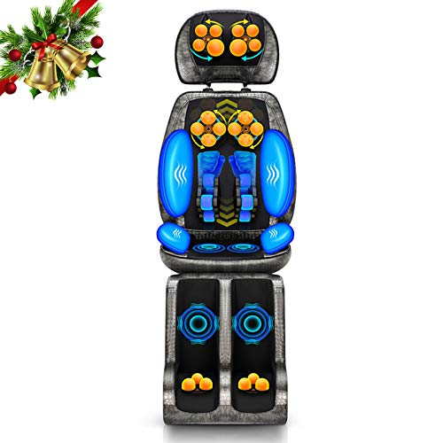XGuang Shiatsu Neck and Back Massager Chair with Heat, 9D Electric Full Body Massage Deep Kneading Rollers Seat with Vibration, Relieve Muscle Pain, Home