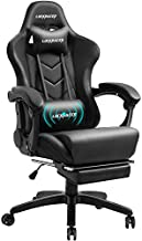 Gowinx Massage Gaming Chair with Footrest - Big and Tall Ergonomic Computer Chair with Lumbar Support and Headrest, High Back Adjustable Heavy Duty Gaming Chair Gamer Chairs for Adults-Black