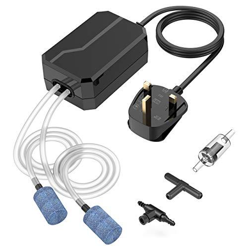 VicTsing Aquarium Air Pump, Fish Tank Air Pump Oxygen Pump for Fresh & Saltwater with 2 Air...