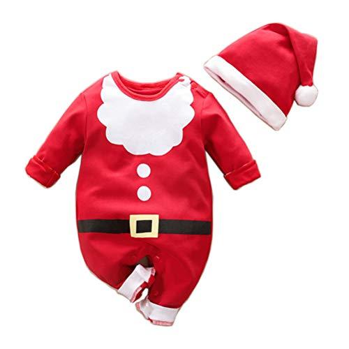 YEMOCILE Costume di Natale Ragazza del Bambino Pagliaccetto + Cappello Outfit Set Babbo Natale Santa Elk Baby Christmas Costume Unisex Tuta Neonato Vestiti