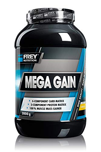 FREY Nutrition MEGA GAIN Vanille, 3000g - Weight Gainer - Für Hardgainer besonders geeignet - Optimale Versorgung mit Kohlenhydraten - Trägt zu einer Zunahme an Muskelmasse bei