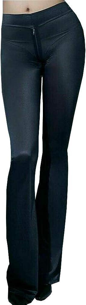 leesuo Women's Sexy Flare Sheer Pants Semi See-Through Zipper Crotch Leggings Silky Bell-Bottoms