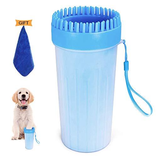 Submarine Hunde Pfotenreiniger, 2 in 1 Upgrade Hunde Pfote Reiniger Tragbar mit Handtuch Mikrofaser Sanfte Reinigungsbürste für Haustier Normale und Große Pfoten (Blau)