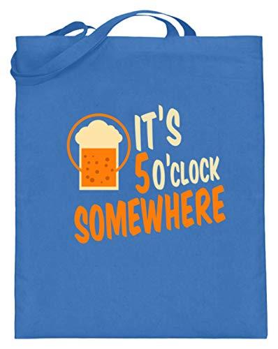 SPIRITSHIRTSHOP It's 5 O'clock Somewhere - Irgendwo Ist Es 5 Uhr - Zeit, Trinken, Bier, Alkoholiker, Glas - Jutebeutel (mit langen Henkeln) -38cm-42cm-Blau