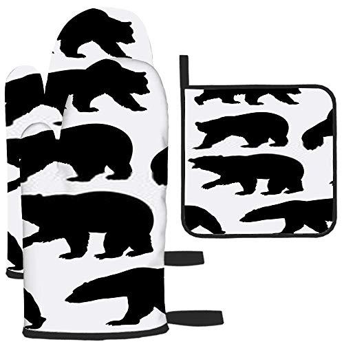 LAVYINGY Lot de 3 maniques et maniques en forme d'ours sauvages - Résistantes à la chaleur - Dessous de plat pour comptoir de cuisine - Pour micro-ondes, barbecue, cuisson au four