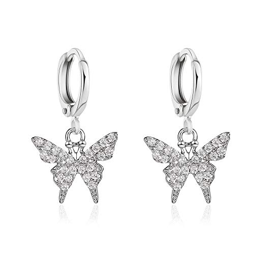 Butterfly Crystal Rhinestone Cubic Zirconia Hoop Drop Dangle Earrings Iced Out Dainty Shiny Set for Women Girl Jewelry Gifts Punk Cute Gold Silver-Long Silver