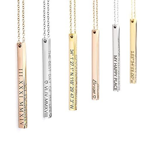 Personalized Gifts for Women Personalized Necklace Coordinate Jewelry Mothers Day Gifts for Her Roman Numeral Graduation Necklace 2021 Engraved Necklaces Initial Necklace - 4SBN