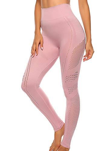 INSTINNCT Damen Yoga Lange Leggings Slim Fit Fitnesshose Sporthosen #5 Ventilationslöcher Stil - Rosa S
