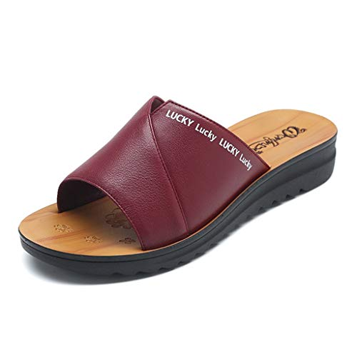 Zomersandalen voor dames, middeleeuwse vrouwen, brede en dikke voeten, van leer, vettig strand, dagelijks draagcomfort op vakantie, strand, sandalen en zomerschoenen.