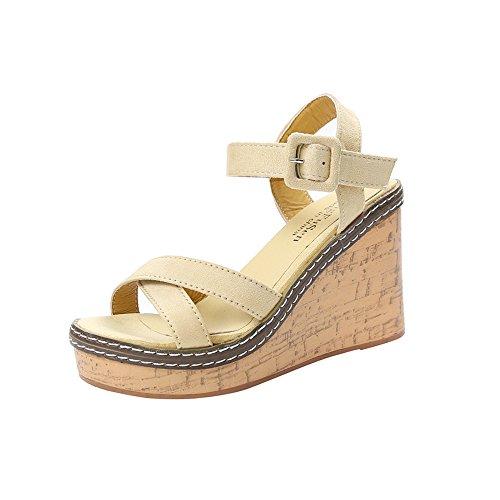 LANSKIRT Sandalias Mujer Verano 2019 Plataforma de Boca de Pescado Tacones Altos Sandalias de Cuña Hebilla Pendientes Zapatos Mujer Fiesta Chanclas Baratos Zuecos Casual (Blanco, 35 EU)