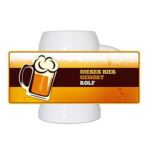 Bierkrug mit Namen Rolf und schönem Bier-Motiv | Bier-Humpen | Bier-Seidel für Männer