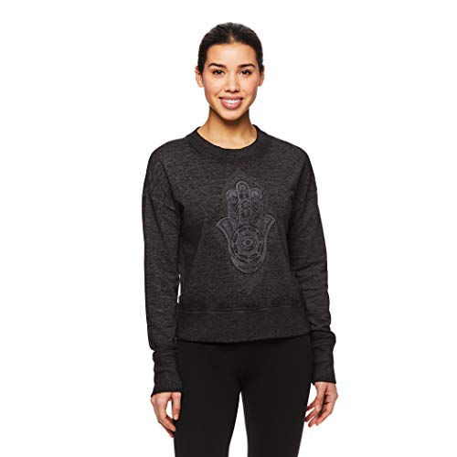 Gaiam Women's Pullover Fleece Yoga Sweatshirt - Long Sleeve Graphic Activewear Sweater - Black (Tap Shoe), X-Large
