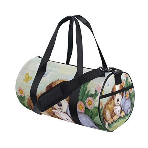 Bolsa de viaje con diseño de conejo y mariposas pintadas al óleo, para hombro, práctica para deportes, gimnasio, para hombres y mujeres