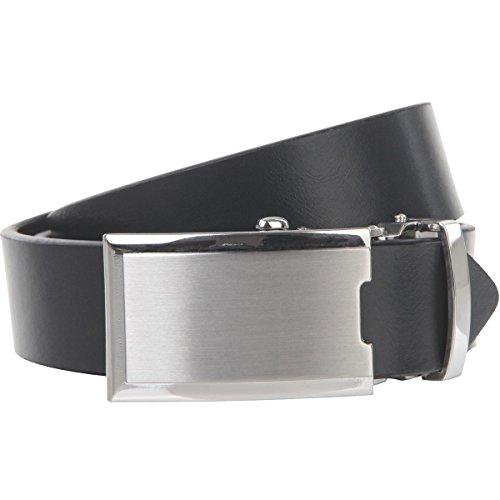 Lindenmann Mens leather belt/Mens belt, leather belt XL with autolock buckle, navy, Größe/Size:100, Farbe/Color:bleu