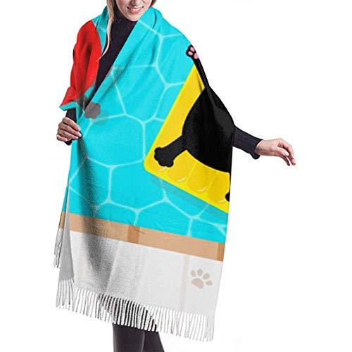 Archiba Winter Schal Cashmere Feel Swimming Pool Schwarze Katze schwimmt auf Schals Stilvolle Schal Wraps weiche warme Decke Schals für Frauen