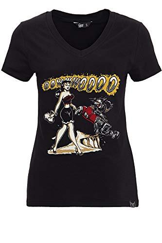 Queen Kerosin Damen T-Shirt Print V Ausschnitt Oowwwoooo Kurzarm Slim Fit Oowwwoooo