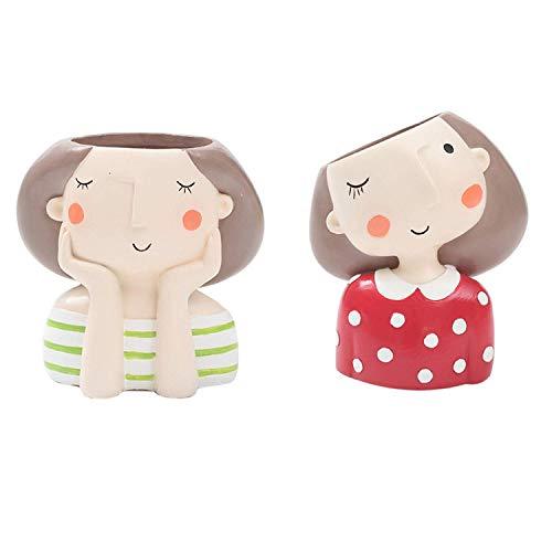 DXX-HR 2pc Lovely Girl diseño de Dibujos Animados Resina Vegetal Tiesto suculentos del envase Planter Bonsai Pot Maceta de Escritorio del Arte la decoración del hogar Verde y Rojo Jarrón Decorativo