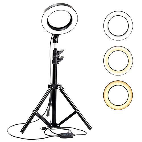RINGLICHT F Ring-Licht, LED USB Ripod Ständer Dimmbare 3 Licht-Modi 10 Rightness Ebene 3000-5000K Video Fotografie Schreibtisch Make-Up Licht Handy-Halter Schönheit Selfie,110cm