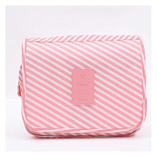 Youpin High Capacity Makeup Bag Travel Cosmetic Bag Waterproof Toiletries Storage Bag Cosmetics Storage Travel Kit Ladies Beauty Bag (Color : Pink stripes)
