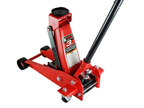 K Tool International 3 Ton Compact Floor Jack Service Jack; Swivel Rear Casters, Lifting Range to 18.75 Inches, Heavy Duty Steel, Premium Material; KTI63131A