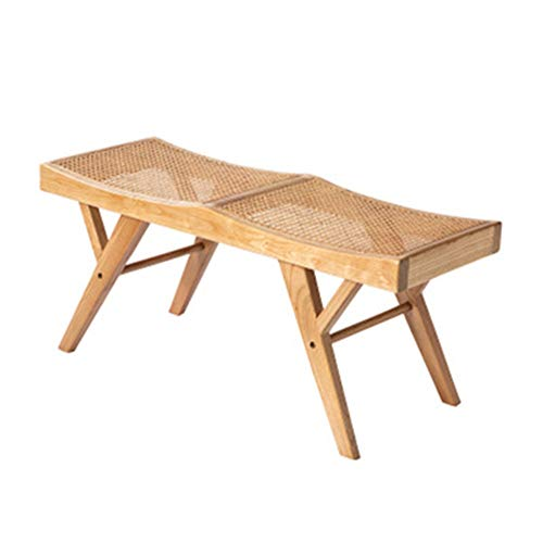 Final de las heces de la cama Banco de ratán de dos personas de tres personas Cama Fin de heces restaurante del dormitorio principal de estilo japonés de madera maciza de ratán de zapatos de cambio de