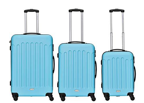 Packenger Juego de 3 Maletas de Viaje - Travelstar – (M,L & XL) Azul Celeste, 4 Ruedas, con Cerradura de combinación, maletín Duro Resistente (ABS)