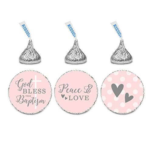 Andaz Press Blush Pink and Gray Baby Girl Baptism Collection, Chocolate Drop Label Stickers Trio, 216-Pack, Fits Kisses Party Favors