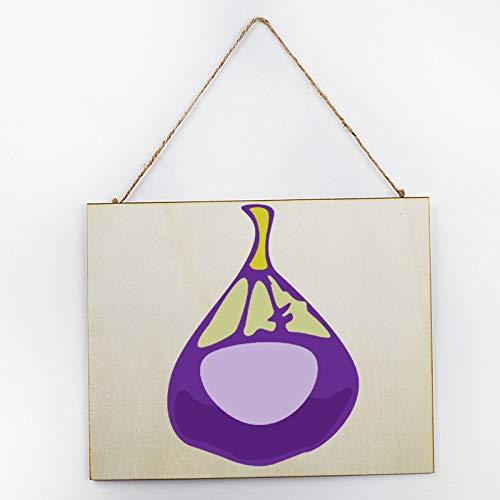 Vintage Large Wooden Hand Painted Sign Plaque Gift Kitchen Living Room Decor Handmade by Vintage Product Designer Fruit Set Fig Purple Pattern