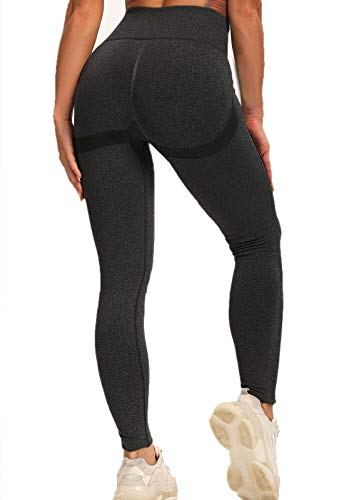 FITTOO Leggings Sin Costuras Push Up Textura Tridimensional Super Elásticos Mujer Alta Cintura Yoga Fitness Mujer #1 Pant Negro S