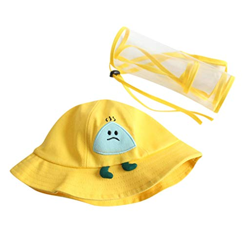 2-6 Anni Cappello Protettivo Facciale Bambini con Visiera Rimovibile Estivo Bambino Bambine Cartoni Animati Berretto con Cover Trasparente per Anti-sputi Anti-UV Hat Protezione Solare (Giallo)