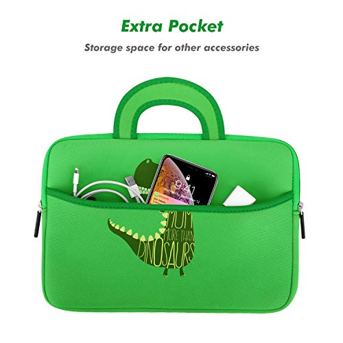 MoKo 7-8 Inch Kids Tablet Sleeve, Portable Neoprene Carrying Case Bag Fits Fire HD 8 Kids Edition 2018, Fire 7 Kids Edition, Fire HD 8 Plus/Fire HD 8 2020, Fire 7, Kindle E-Reader, Dinosaur Green