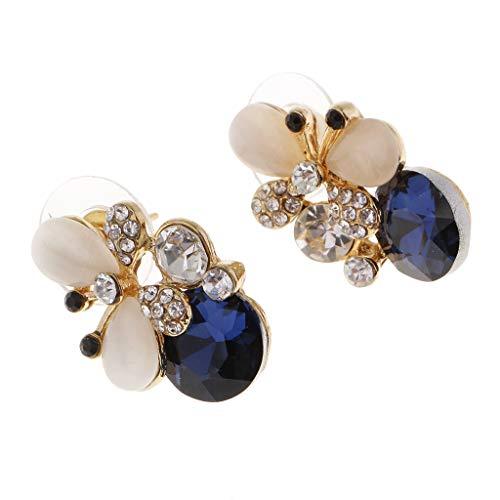 F Fityle 1 Par de Pendientes de Mariposa de Cristal de Joyería para Citas, Accesorio de Maquillaje de Pendientes de Diamantes de Imitación de Moda de Color - Azul, Individual