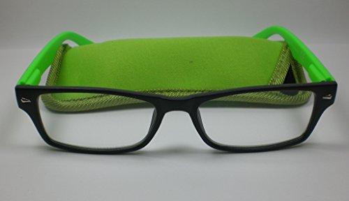 Schicke Lesebrille für Sie & Ihn Flexbügel Lesehilfe mit Etui Fertigbrille grün +3,0