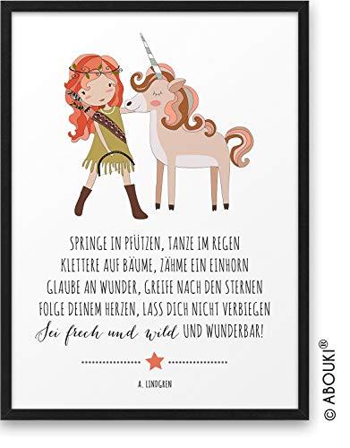 Mädchen EINHORN Frech Wild Wunderbar ABOUKI® Kunstdruck [ideales Geschenk] - moderne Deko - Design Poster Bild Geschenkidee für Kinder Taufe Geburt Geburtstag Einschulung Kindergarten ungerahmt DIN A4