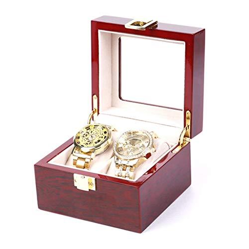 K&F-WATCH Hölzerner Uhrkasten-transparenter Glasoberseiten-Uhr-Verkaufsmöbel Mit Entfernbarem Kissen-Mann-und Frauen-Sammlungs-Kasten (Size : 2grids)