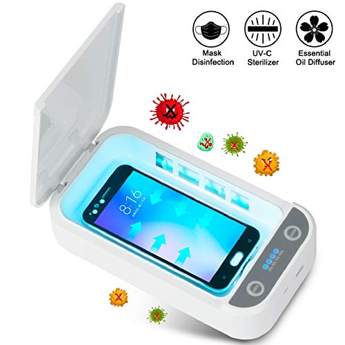 Cell Phone UV Sanitizer, Portable UV Light Cell Phone Soap Sterilizer with USB Charging Compatible, UV Light Sanitizier Box for iOS Android Smartphones Watch